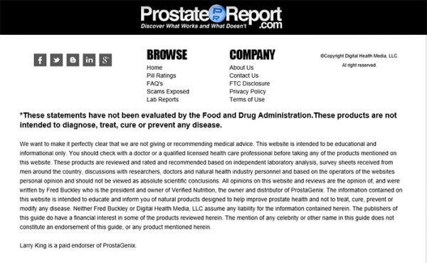 FDA Disclosure prostate formula