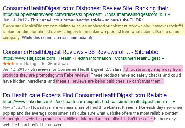 ConsumerHealthDigest.com not reliable